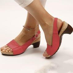 Dla kobiet PU Obcas Slupek Sandały Otwarty Nosek Buta Bez Pięty Kapcie Z Klamra obuwie