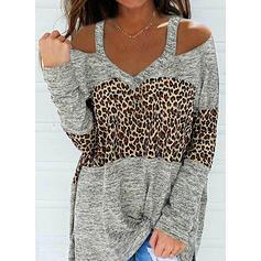 Color Block Leopard Cold Shoulder Long Sleeves Casual Blouses