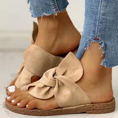 Női Szarvasbőr Lapos sarok Szandál Peep Toe Papucs -Val Csokornyakkendő cipő