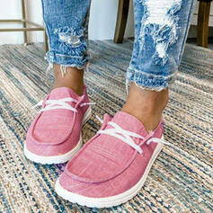 Women's Canvas Flat Heel Flats With Lace-up Splice Color shoes