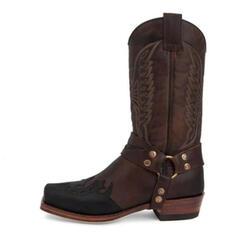 Női Műbőr Chunky sarok Mid-Calf Csizma Négyzetes lábujj -Val Hímzés cipő