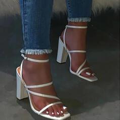 Bayanlar PU Tıknaz Topuk Sandalet Flats Peep Toe Arkası açık iskarpin Terlik Ile Toka Katı Renk ayakkabı