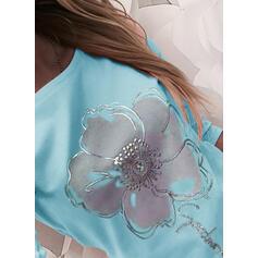 Trykk Blomstrete Figur Rund hals Lange ermer Casual T-skjorter