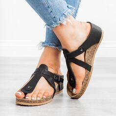 Women's PU Wedge Heel Sandals Peep Toe Slippers With Rivet Buckle shoes