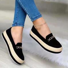 Női PU Lapos sarok Lakások Slip On -Val Lánc Splice szín cipő