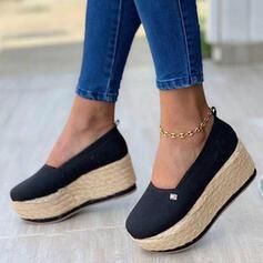 Frauen Stoff Flascher Absatz Slipper mit Geflochtenes Band Einfarbig Schuhe