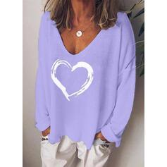 Nadruk Serce Dekolt w kształcie litery V Długie rękawy Casual Dzianina T-shirty