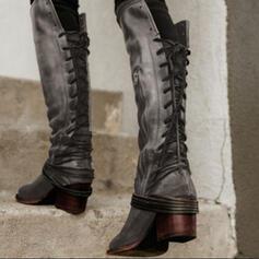 Mulheres PU Salto baixo Botas Bota no joelho com Aplicação de renda sapatos