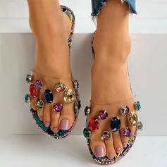 Mulheres PVC Sem salto Sandálias Chinelos com Strass sapatos