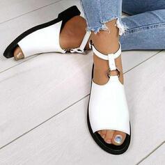 Dla kobiet Zamsz Płaski Obcas Sandały Otwarty Nosek Buta Z Klamra Tkanina Wypalana obuwie