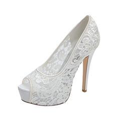 Women's Lace Stiletto Heel Peep Toe Platform Pumps Sandals