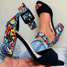 De mujer PU Tacón ancho Sandalias Salón Encaje Encaje con Hebilla Flor Bordado zapatos