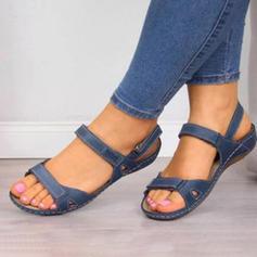 PU Flat Hæl Sandaler Flate sko Titte Tå med Spenne sko