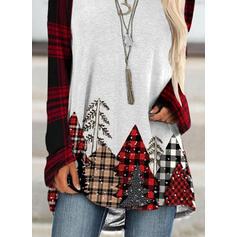 Print Grid Round Neck Long Sleeves Christmas Sweatshirt