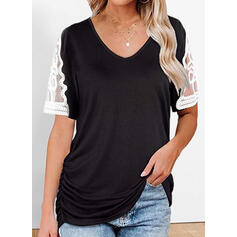 Lace Solid V-Neck Short Sleeves T-shirts