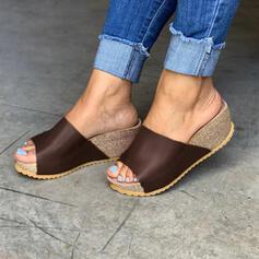 Women's PU Flat Heel Peep Toe Slippers shoes