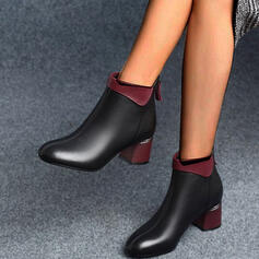 Women's PU Chunky Heel Ankle Boots Round Toe With Zipper Solid Color shoes