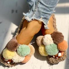 Bayanlar Kumaş Düz topuk Sandalet Flats Peep Toe Terlik Ile Kürk ayakkabı