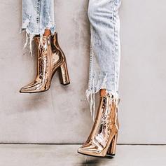 Pentru Femei Piele Breveta Toc gros Încălţăminte cu Toc Înalt Închis la vârf Botine cu Fermoar pantofi