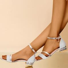 Pentru Femei PU Toc gros Sandale Puţin decupat în faţă cu Cataramă pantofi