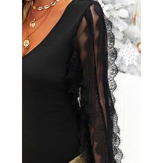 Jednobarevné Dlouhé rukávy Přiléhavé Nad kolena Malé černé/Večírek/Elegantní Rochii