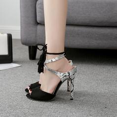 Mulheres PU Salto agulha Sandálias Bombas Peep toe com Aplicação de renda sapatos