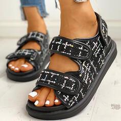 Bayanlar Kumaş Düz topuk Sandalet Peep Toe Ile Velcro ayakkabı