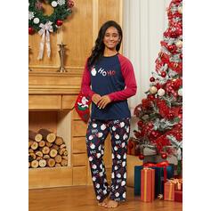 Santa Color-block Letter Family Matching Christmas Pajamas