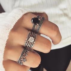 Fashionable Alloy Rhinestones With Rhinestone Women's Rings (Set of 6 pairs)