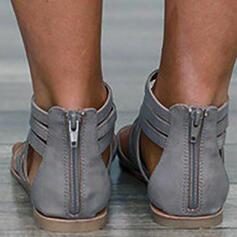 Bayanlar PU Düz topuk Sandalet Flats Peep Toe Parmak arası terlik Ile Elastik bant ayakkabı