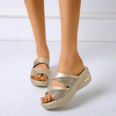 Pentru Femei PU Platforme Înalte Sandale Puţin decupat în faţă Şlapi cu Ştrasuri pantofi