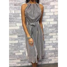 Solid Sleeveless A-line Party/Elegant Midi Dresses