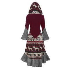 Plaid/Animal Print Long Sleeves/Flare Sleeves Sheath Knee Length Christmas/Casual Dresses