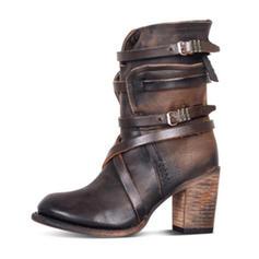 Mulheres PU Salto robusto Bombas Fechados Botas Botas na panturrilha com Fivela Zíper sapatos