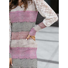 Color Block Lace V-Neck Casual Long Tight Sweater Dress