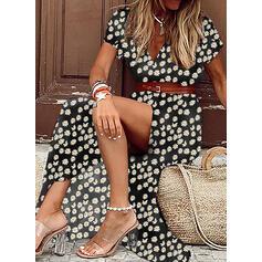 Nadrukowana/Kwiatowy Krótkie rękawy W kształcie litery A Łyżwiaż Casual/Wakacyjna Maxi Sukienki