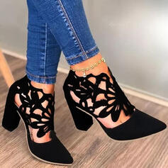 Женский PU Толстый каблук Насосы Закрытый носок Каблуки с Выдолбить обувь