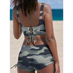 Stripe Strap V-Neck Classic Plus Size Bikinis Swimsuits