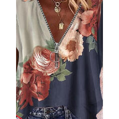 Распечатать Цветной блок Цветочный V шеи С коротким рукавом Повседневная Блузы
