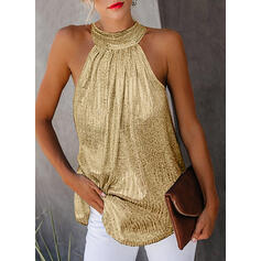 Solid Round Neck Sleeveless Casual Elegant Sexy Tank Tops