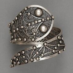 Elegante Clássico Charme Artístico Delicado Liga com Minimalista Mulheres Anéis