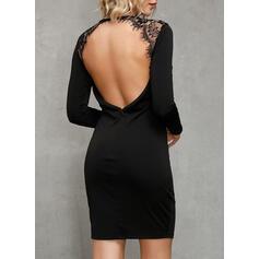 Koronka/Jednolita/Bez pleców Długie rękawy Bodycon Nad kolana Mała czarna/Seksowna/Przyjęcie Sukienki