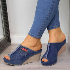 Women's Denim Wedge Heel Sandals Wedges Peep Toe Slippers With Split Joint shoes