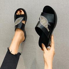 Femmes PU Talon plat Sandales Chaussons chaussures