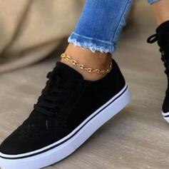 De mujer PU Tacón plano Planos Top bajo Encaje Alpargata Zapatillas con Cordones Color sólido zapatos