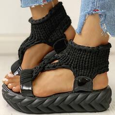Women's Fabric Flat Heel Sandals Peep Toe shoes