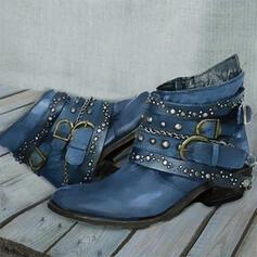Kvinner PU Stor Hæl Støvler Martin Boots Round Toe med Rivet Ensfarget sko