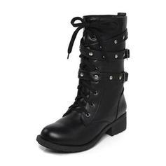De mujer PU Tacón bajo Botas con Hebilla Cordones zapatos