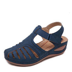 Dla kobiet PU Obcas Koturnowy Sandały Z Rzep obuwie
