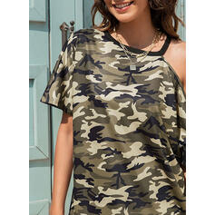 Распечатать маскировка Одно плечо С коротким рукавом Повседневная Блузы
